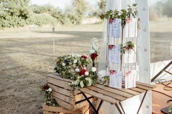 Décoration de mariage à Dijon plan de table